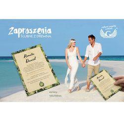 Zaproszenia ślubne z drewna - tropikalne - cyfrowy druk UV - ZAP041