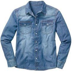 Koszula dżinsowa z długim rękawem bonprix niebieski