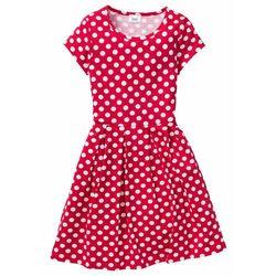 Sukienka dziewczęca shirtowa w groszki bonprix Sukienka druk czer-biał gr
