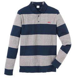 Shirt polo z długim rękawem bonprix szary melanż - ciemnoniebieski w paski