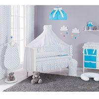 Pościel, MAMO-TATO dwustronna rozbieralna pościel 12-el Gwiazdki szare i niebieskie / niebieski do łóżeczka 70x140cm - moskitiera