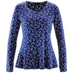 Shirt z baskinką, długi rękaw bonprix kobaltowy z nadrukiem