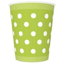 Kubeczki urodzinowe zielone w białe kropki - 250 ml - 8 szt.