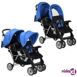 vidaXL Wózek spacerowy dla bliźniąt, tandem niebiesko-czarny Darmowa wysyłka i zwroty