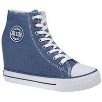 Damskie obuwie sportowe, Trampki BIG STAR U274901 Niebieskie na koturnie - Niebieski ||Biały