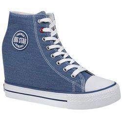 Trampki BIG STAR U274901 Niebieskie na koturnie - Niebieski ||Biały