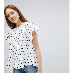 ASOS DESIGN TALL Washed Linen Ruffle Smock in Spot - Multi
