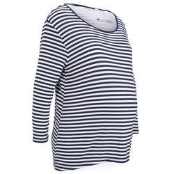 Shirt ciążowy + top do karmienia (2 części) bonprix ciemnoniebieski w paski + biały