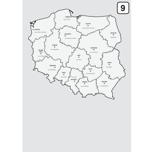 Tablice szkolne, magnetyczna tablica suchościeralna mapa Polski z podziałem na województwa 238
