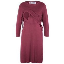 Sukienka dzianinowa ciążowa i do karmienia bonprix czerwony rododendron