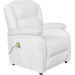 vidaXL Fotel masujący z eko-skóry, elektryczny, regulowany, biały Darmowa wysyłka i zwroty