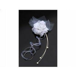 Rattanowe bukieciki z różyczką białe - 25 cm - 4 szt.