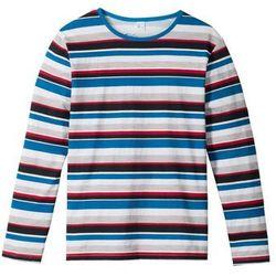 Shirt w paski z długim rękawem bonprix niebiesko-czerwono-jasnoszary