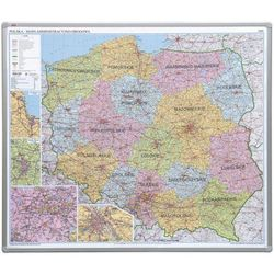 Tablica mapa 2x3 officeBoard – mapa administracyjna Polski 102,5x120cm, płyta miękka