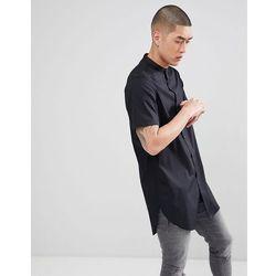 ASOS DESIGN regular fit super longline shirt with grandad collar in black - Black