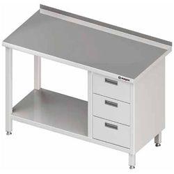 Stół przyścienny z blokiem trzech szuflad po prawej stronie i półką 1000x600x850 mm | STALGAST, 980396100