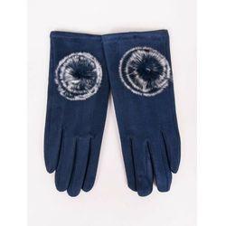 Rękawiczki dziewczęce zamszowe granatowe futrzany pompon 21