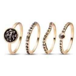 Komplet pierścionków z czarnymi kamieniami bonprix złoty kolor - czarny