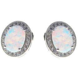 Eleganckie owalne rodowane srebrne kolczyki z opalem i cyrkoniami owal opal cyrkonie srebro 925 V012
