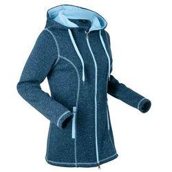 Bluza rozpinana dzianinowa z polaru, długi rękaw bonprix ciemnoniebieski melanż