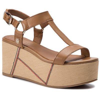 e40c45ecc8ccf Sandały TOMMY HILFIGER - Elevated Leather Flatform Sandal FW0FW03944 Summer  Cognac 929