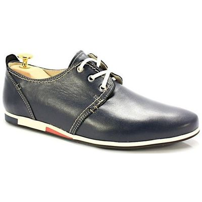 Kent 209f niebieskie męskie wygodne buty ze skóry