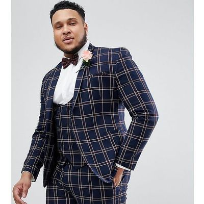 eee2194a83c3e Asos design plus wedding super skinny suit jacket in navy waffle check -  navy