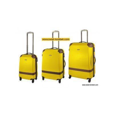 7ceb10f94d125 Komplet walizek model 210 zestaw duża + średnia + mała/ kabinowa 4 koła  materiał abs zamek szyfrowy tsa marki Dielle