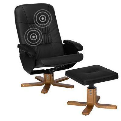 Fotel Czarny Ekoskóra Funkcja Masażu Z Podnóżkiem Relaxpro Marki Beliani