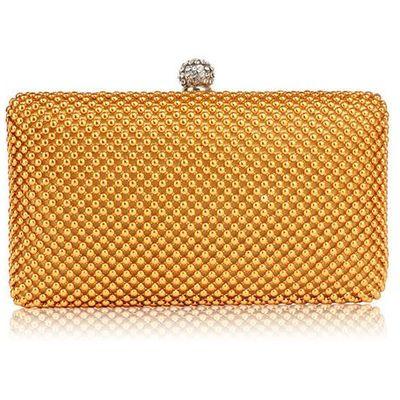 6c43477f6e2e4 Złota torebka wizytowa z drobnych koralików - złoty marki Wielka brytania