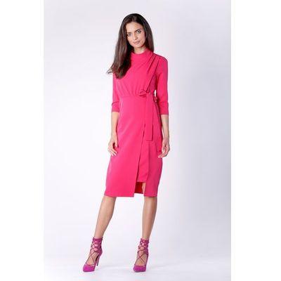 14f57cf8d1 Dopasowana Różowa Sukienka za Kolano z Rozporkiem na Boku
