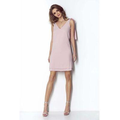 c6f3db6a Wow point Różowa sukienka o linii a z dekoltem v z kokardkami na ramionach