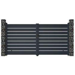 Brama wjazdowa rozwierna PRIMO, ażurowa, z aluminium w kolorze antracytowym – 350 × 176 cm (szer. × wys.)