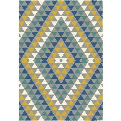 Dywan 120x170 Komfort Valery żółty Niebieski Zielony Biały Szary Trójkąty