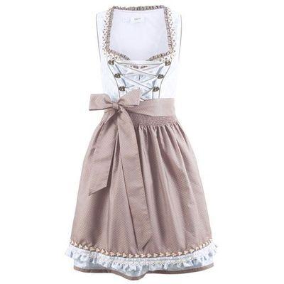 da238641ab Sukienka ludowa z fartuchem bonprix perłowy niebieski wzorzysty