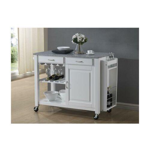 Duży barek kuchenny na kółkach owen - 1 szafka z drzwiczkami i 2 szuflady - kauczukowiec i granit marki Vente-unique