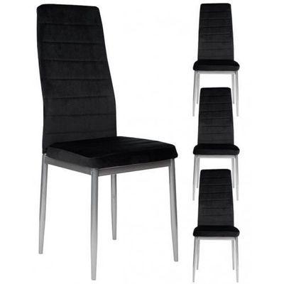 Meblemwm 4 krzesła tapicerowane k1 welur czarny pasy nogi srebrne