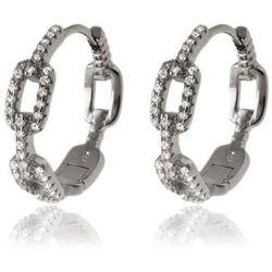 Eleganckie srebrne kolczyki klasyczne kółka circle ring ogniwa łańcucha białe cyrkonie srebro 925 k2860 marki Valerio.pl