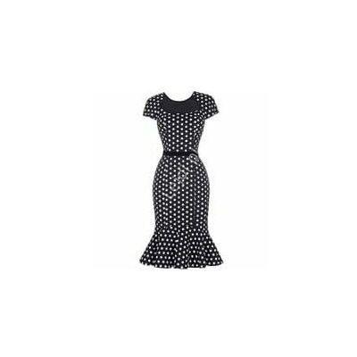 Czarna sukienka w kropki z falbaną na dole lata 50te, retro ciuchy marki Promkiexclusive