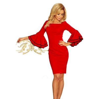 2e31f2c2 Numoco Czerwona sukienka dopasowana wizytowa z hiszpańskim rękawem