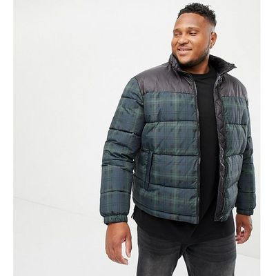 90c14f11bc73c plus checked puffer jacket in navy - navy marki New look