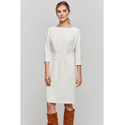 5e2a39ba Mlecznobiała sukienka ze ściągaczem w talii - Patrizia Aryton