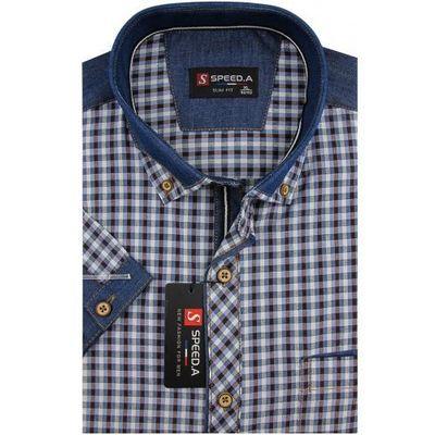 84b2c822884f24 Koszula Męska Speed.A granatowo - brązowa kratka z dodatkami jeans na  krótki rękaw duże rozmiary K742, k742
