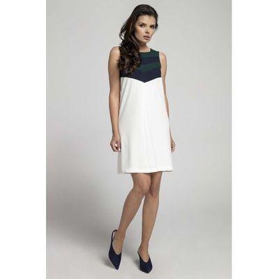 fd71861bfd Zielona ecru letnia sukienka o linii a z kolorowym karczkiem marki Nommo