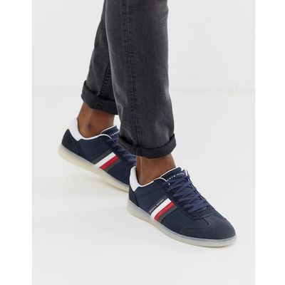 91dc031718abc Tommy hilfiger mixed fabrication trainer with contrast sole and flag in  navy - navy
