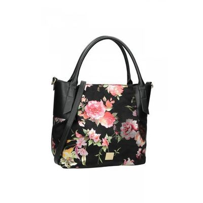 220bdcf56cfff Klasyczna czarna torebka w kwiatowy wzór - Nobo, kolor czarny