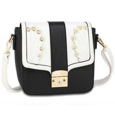 acc3a06296d1f Ozdobna torebka damska listonoszka na ramię czarno-biała - czarny ||biały,  kolor czarny