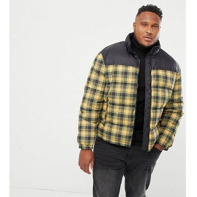 8088ec2c12c33 plus checked puffer jacket in yellow - yellow marki New look
