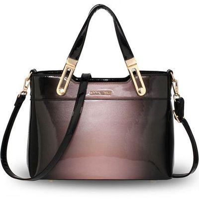 b2b953da855ea Wielka brytania Cieniowana lakierowana torebka damska różowo-czarna - czarny  ||szaroróżowy
