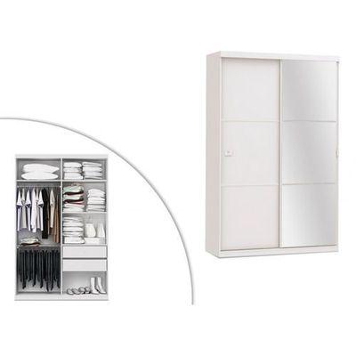 Szafa Z Lustrem Peggy Podwójne Drzwi Przesuwne Dł144 Cm Kolor Biały Marki Vente Unique